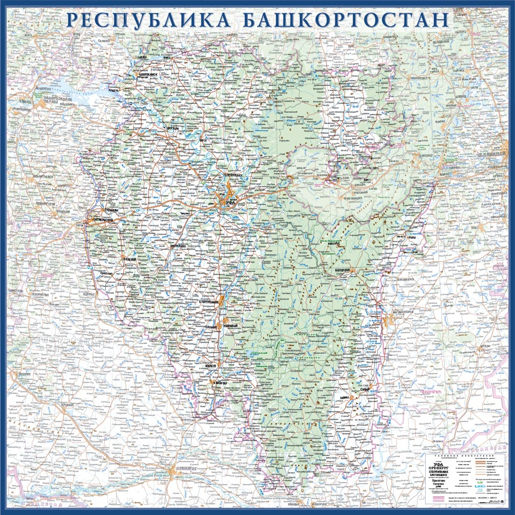 Настенная карта Республики Башкортостан 1,0 х 1,0 м на заказ