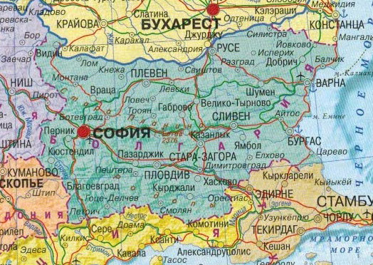Настенная карта Болгарии, ламинированная. Р-р1,0*0,75 м