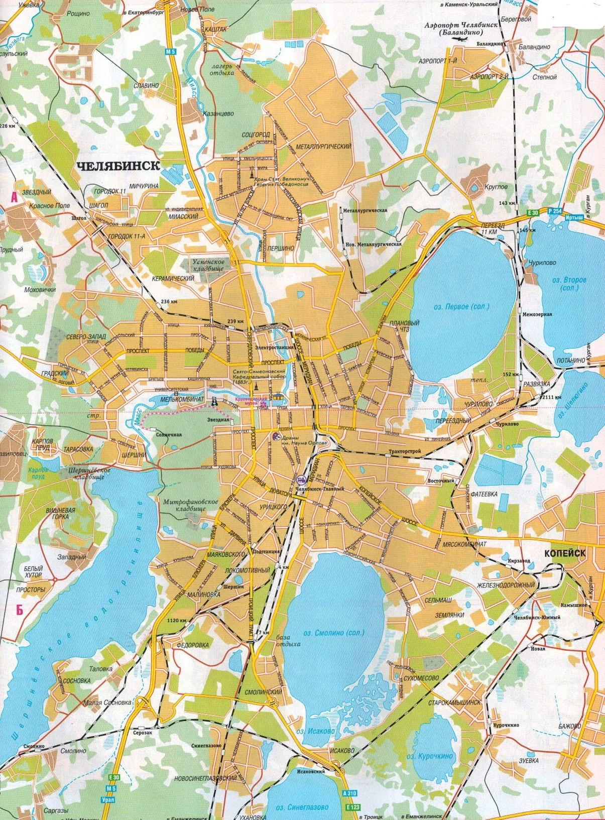 Настенная карта города Челябинск , ламинированная, р-р 0,75*1,0 м