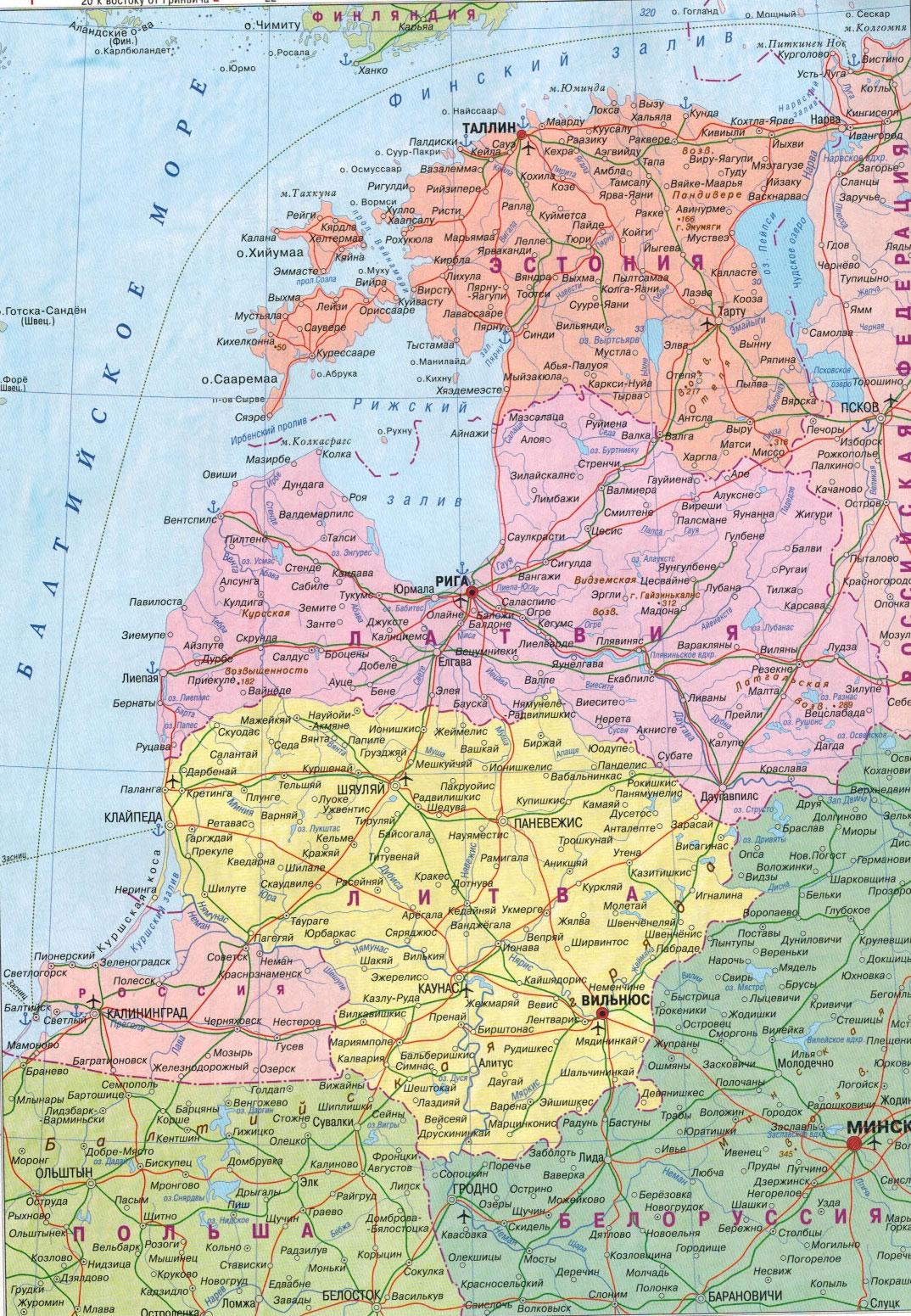 Настенная карта Латвии , Литвы, Эстонии. Ламинированная. Р-р 0,70*1,0 м