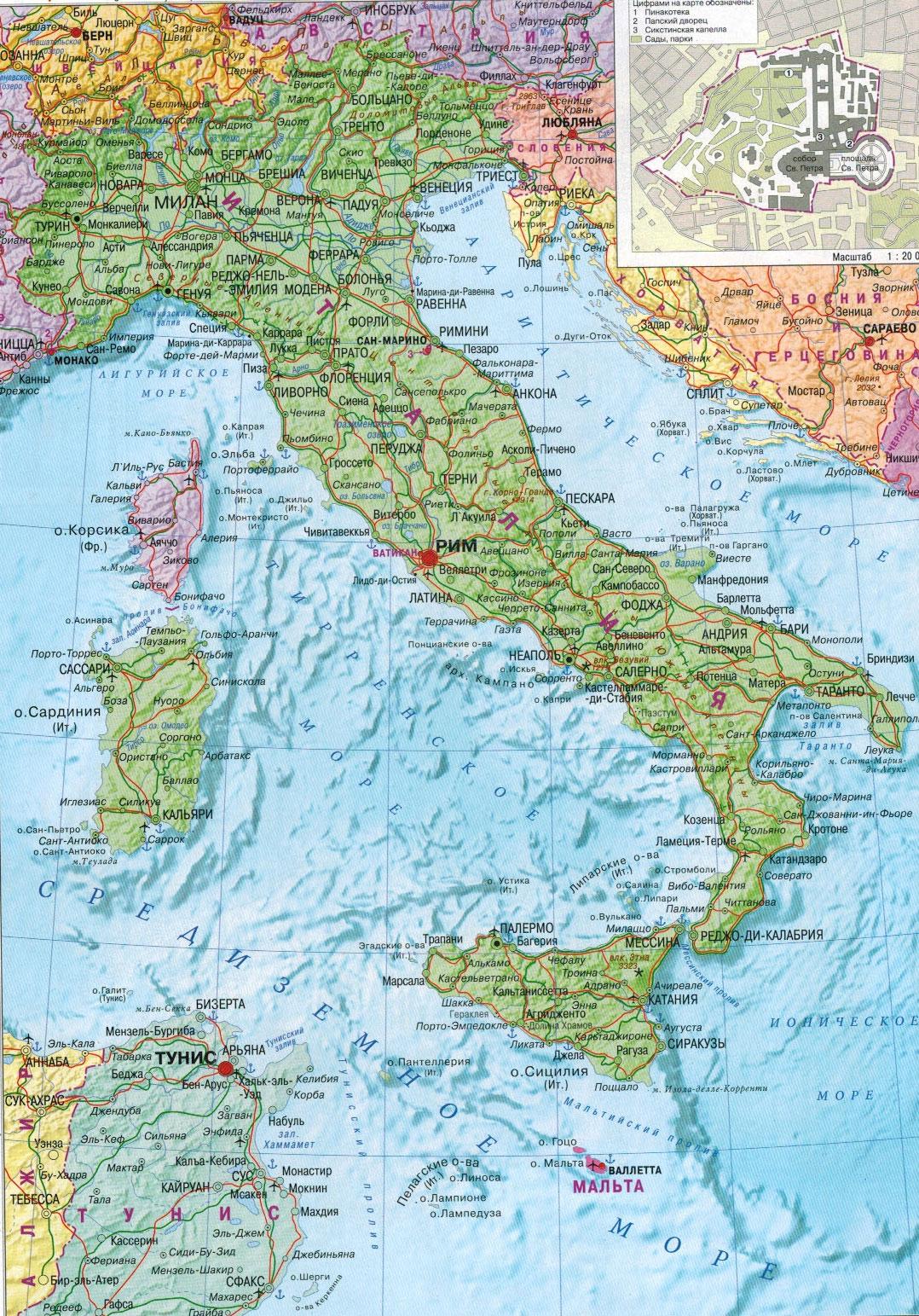 Настенная карта Италии , ламинированная, р-р 0,70*1,0 м