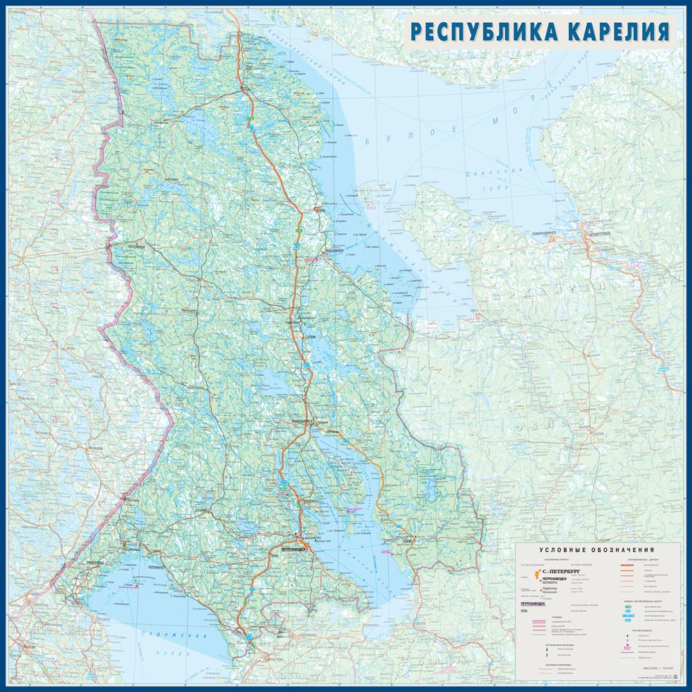 Настенная карта Республики Карелия 1,0*1,0 м на заказ