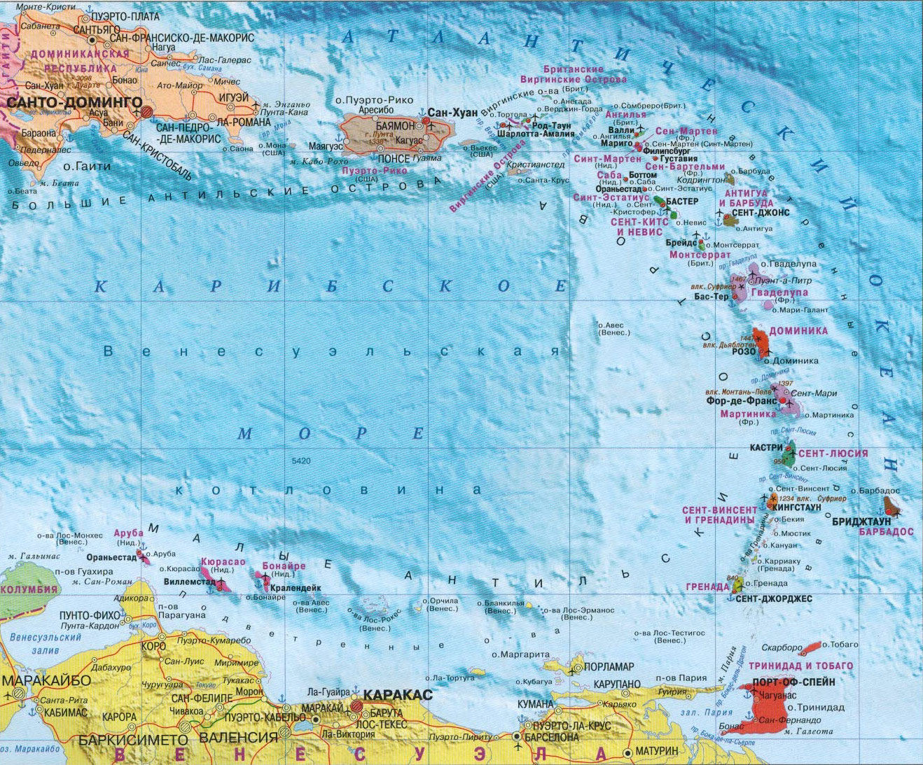 Настенная карта Карибского бассейна, ламинированная. Р-р 1,0*0,75 м
