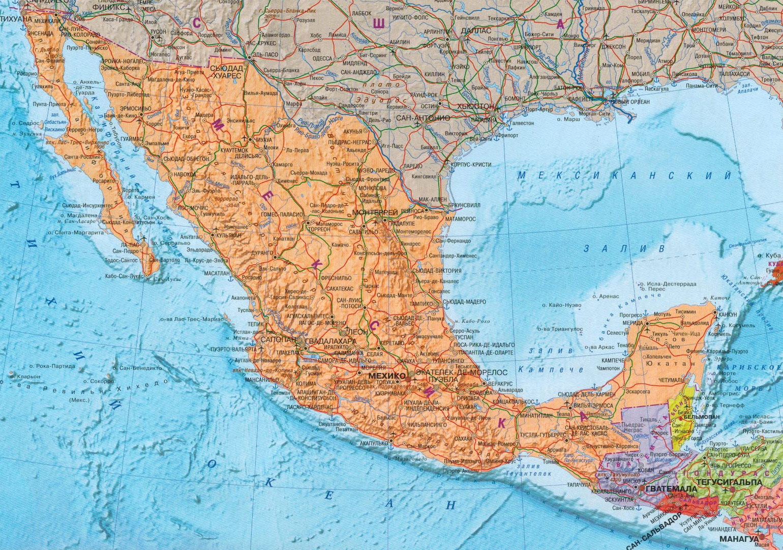 Настенная карта Мексики, ламинированная, р-р 1,0*0,75 м