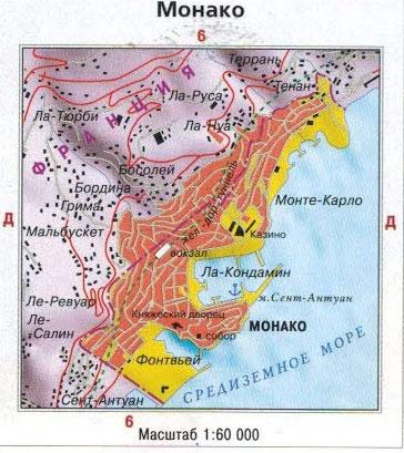 Настенная карта Монако, ламинированная. Р-р 0,5*0,55 м
