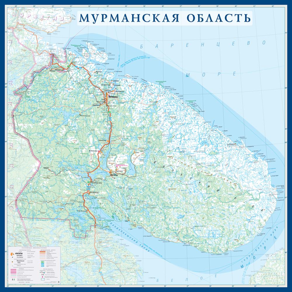 Настенная карта Мурманской области размер 1,0 х 1,0 м на заказ