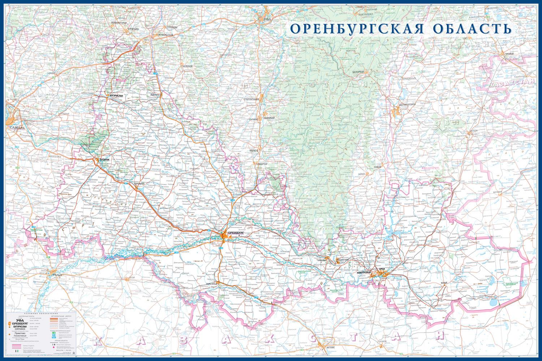 Настенная карта Оренбургская область 1,5 х 1,0 м на заказ