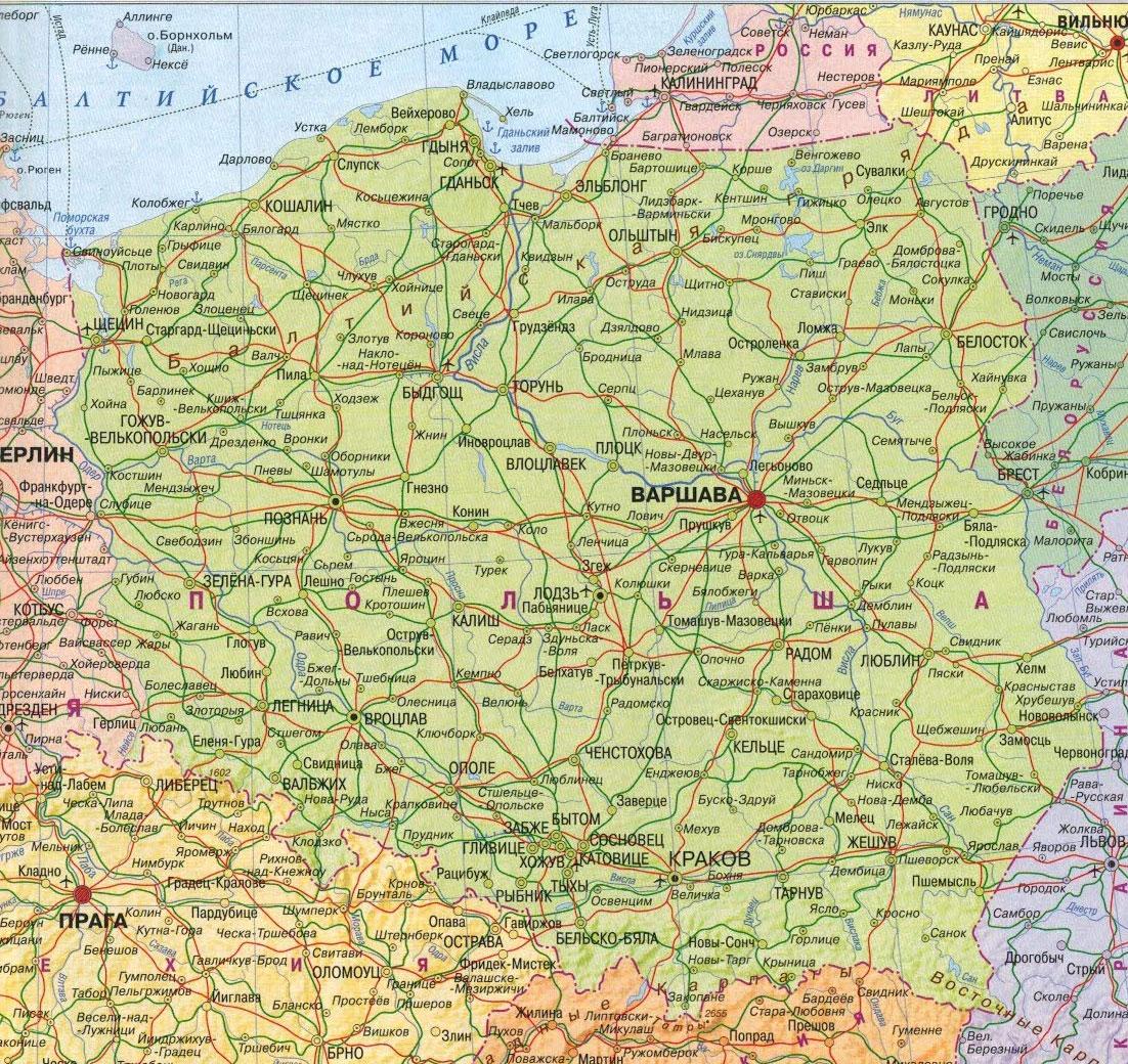 Настенная карта Польши, ламинированная, р-р 0,75*0,75 м