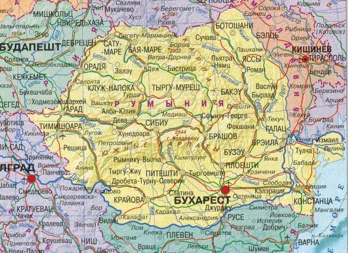 Настенная карта Румынии , ламинированная. Р-р 1,0*0,75 м