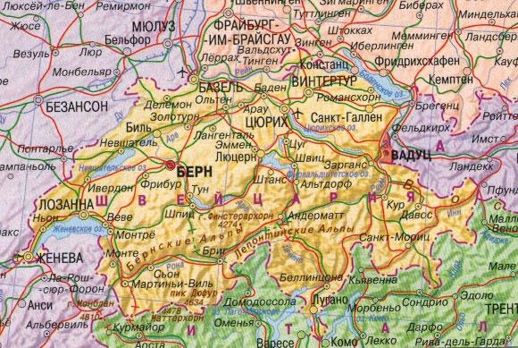 Настенная карта Швейцарии , ламинированная. Р-р 1,0*0,75 м