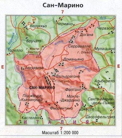 Настенная карта Сан-Марино, ламинированная, р-р 0,5*0,55 м