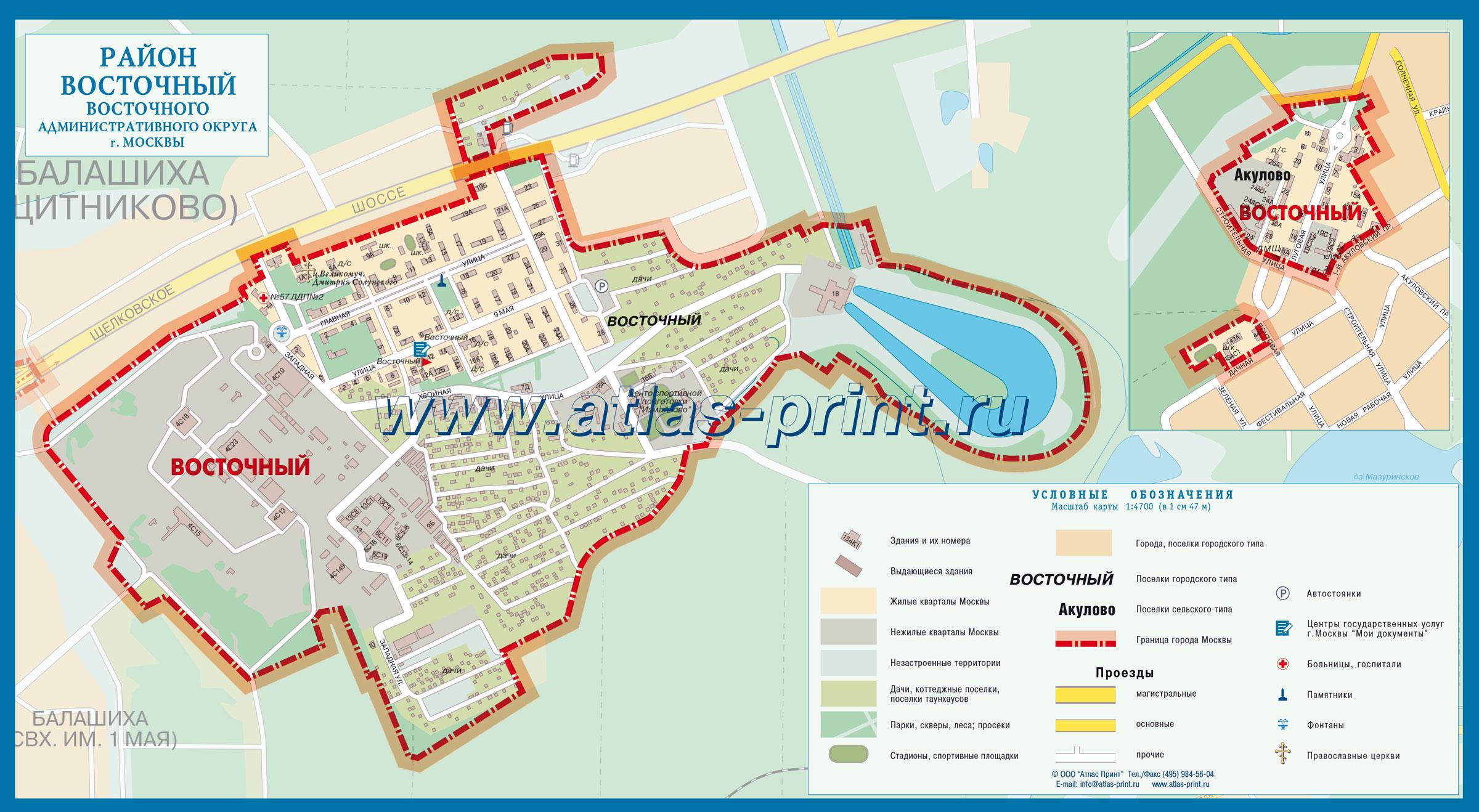 Настенная карта района ВОСТОЧНЫЙ (Восточный административный округ г. Москвы) 1,00*0,55м, ламинированная