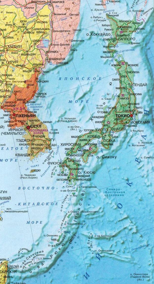 Настенная карта Японии, ламинированная, р-р 0,55*1,0м
