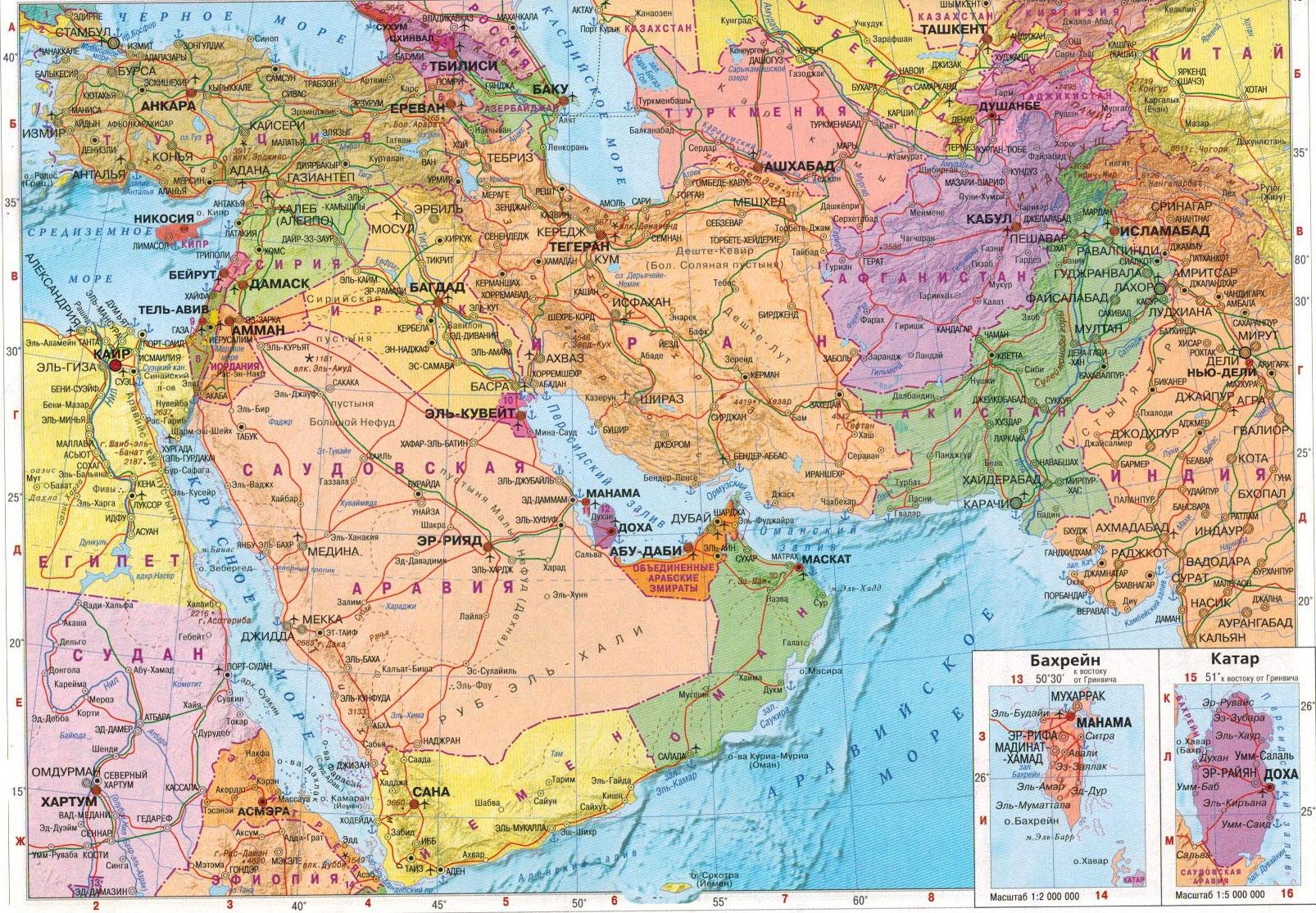 Настенная карта Юго-Западной Азии политическая, ламинированная, р-р 1,0*0,75 м