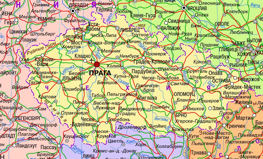 Настенная карта Чехии , ламинированная. Р-р 1,0*0,75 м