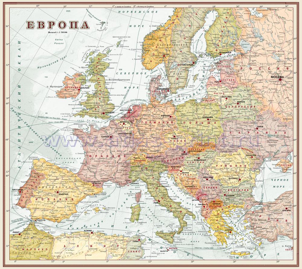 Настенная карта Европы (экодизайн) , ламинированная, р-р 1,0*0,89 м