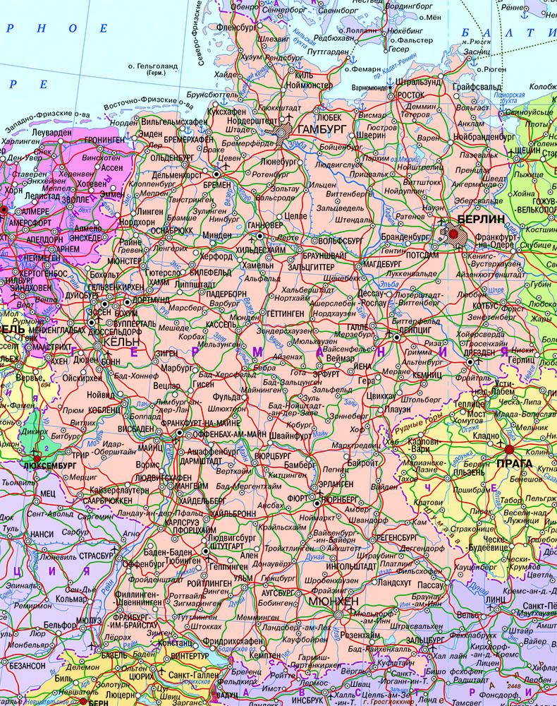 Настенная карта Германии, ламинированная.Р-р 0,75*1,0м