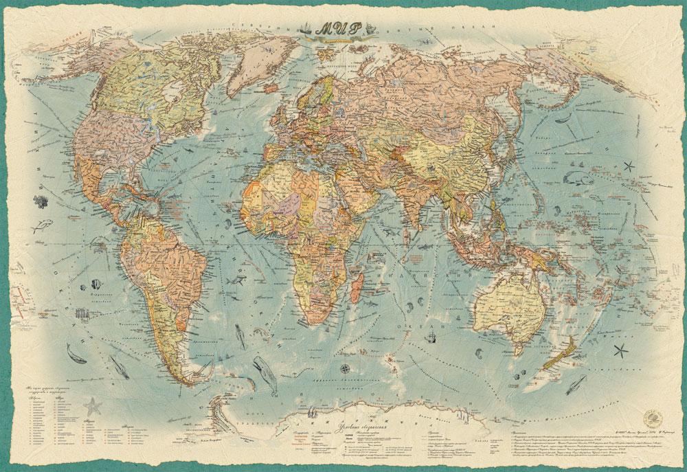 Настенная политическая карта Мира в стиле ретро 1,0 х 0,7 м