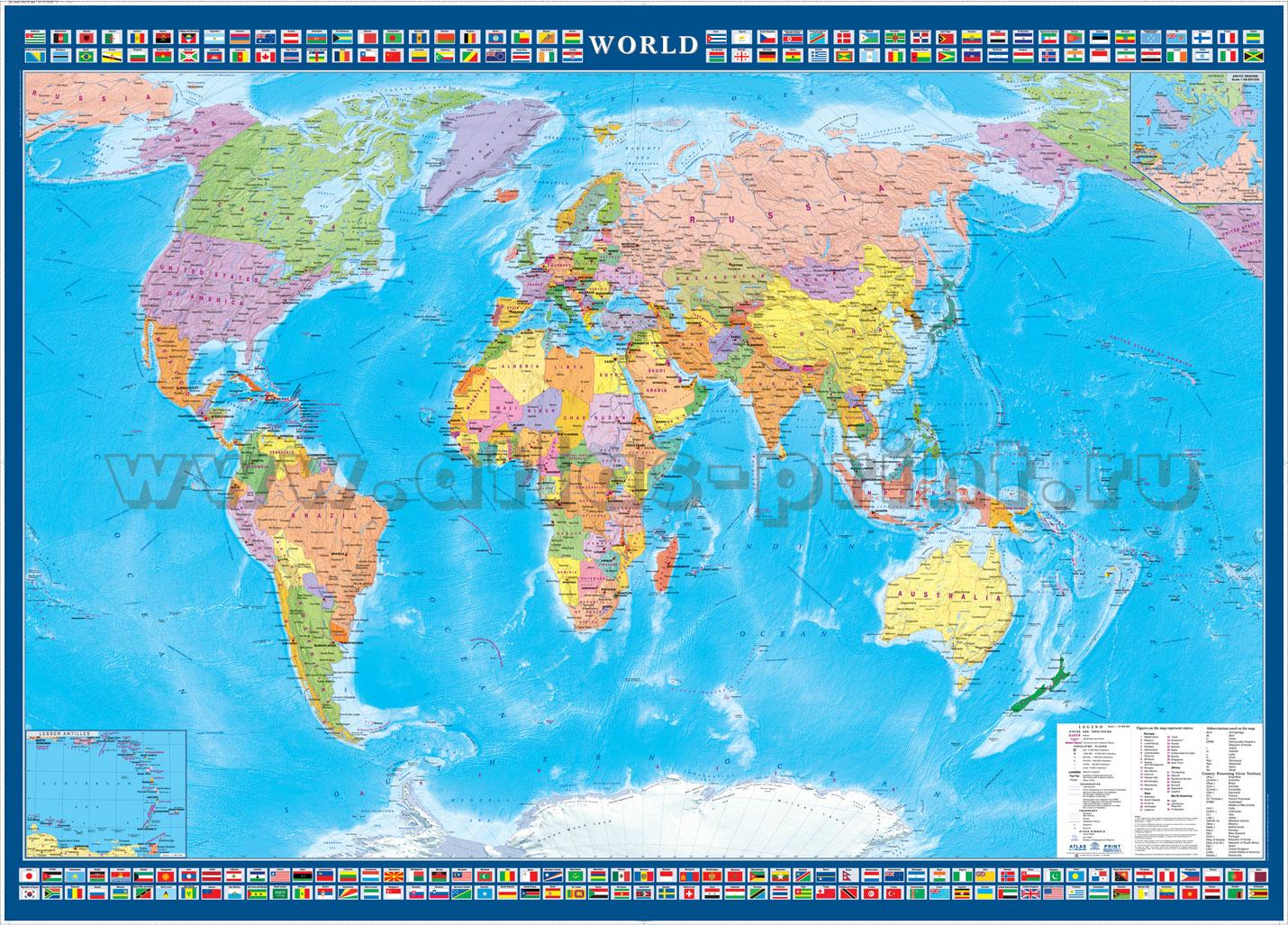 """Настенная политическая карта Мира на английском языке """"World"""" с флагами стран 1,43*1,02 м"""