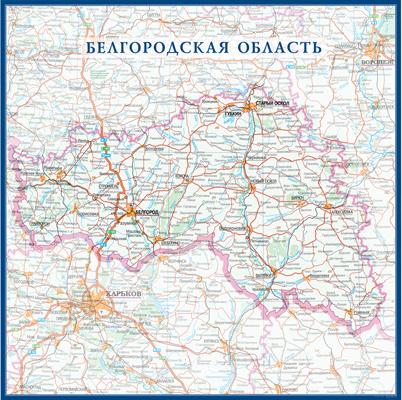 Настенная карта Белгородской области России  размер 1,0 х 1,0 м на заказ