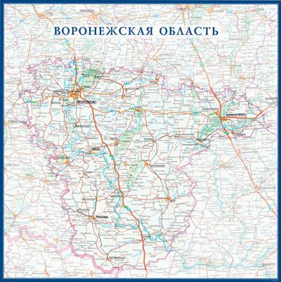 Настенная карта Воронежской