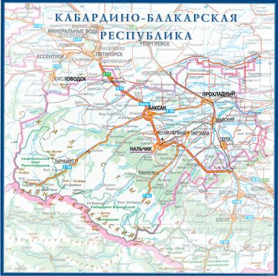 Настенная карта Кабардино-Балкарской республики России  размер 1,0 х 1,0 м на заказ