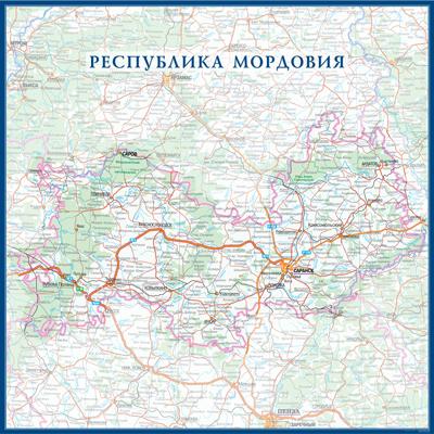 Настенная карта республики Мордовия России  размер 1,0 х 1,0 м на заказ