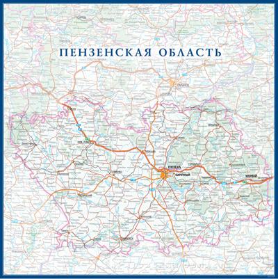 Настенная карта Пензенской области России  размер 1,0 х 1,0 м на заказ
