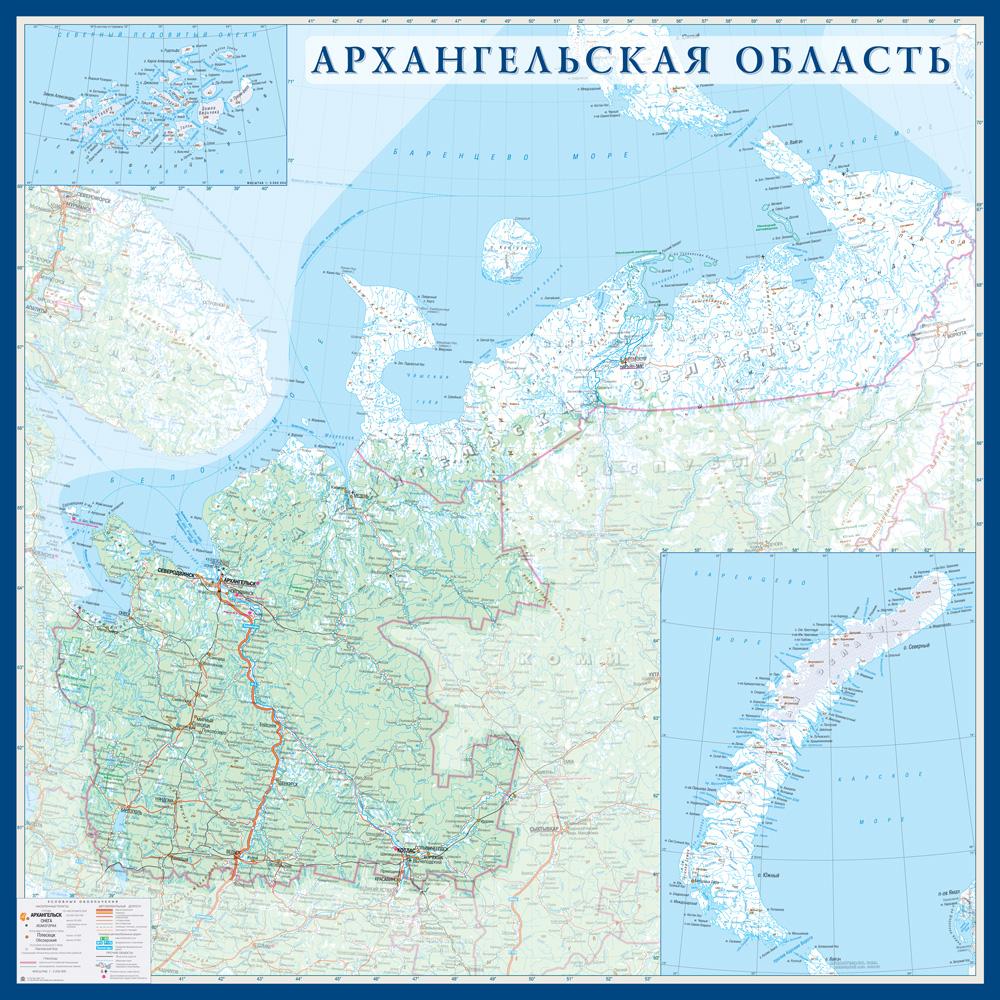 Настенная карта Архангельской области России  размер 1,0 х 1,0 м на заказ