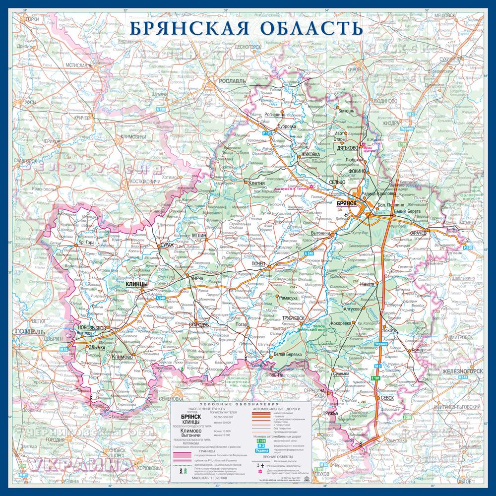 Настенная карта Брянской области России  размер 1,0 х 1,0 м на заказ