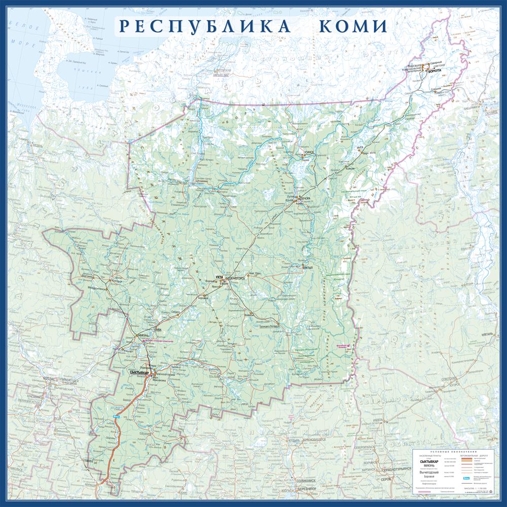 Настенная карта республики Коми размер 1,0 х 1,0 м на заказ