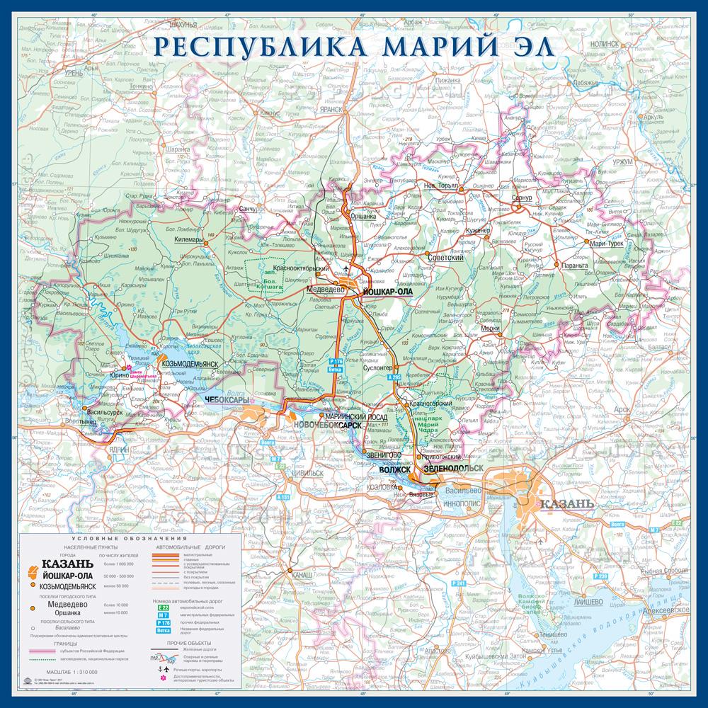 Настенная карта республики Марий Эл России  размер 1,0 х 1,0 м на заказ