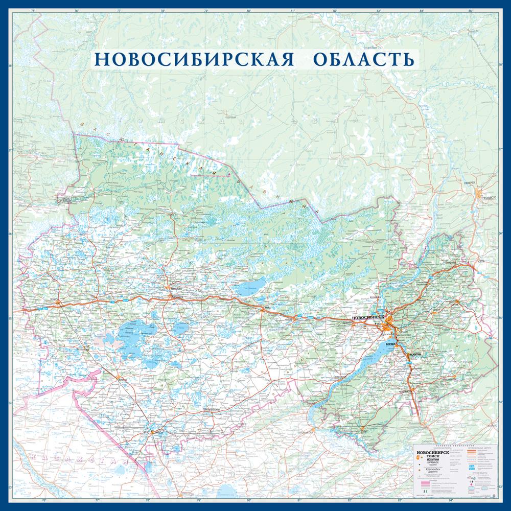 Настенная карта Новосибирской области размер 1,0 х 1,0 м на заказ
