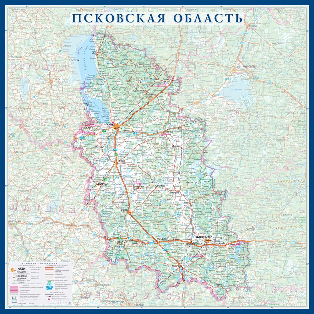 Настенная карта Псковской области России  размер 1,0 х 1,0 м на заказ