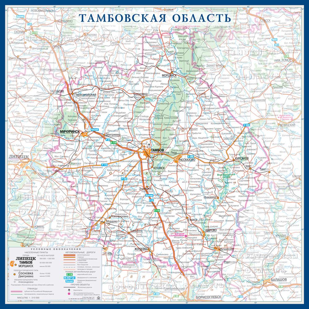 Настенная карта Тамбовской области России  размер 1,0 х 1,0 м на заказ