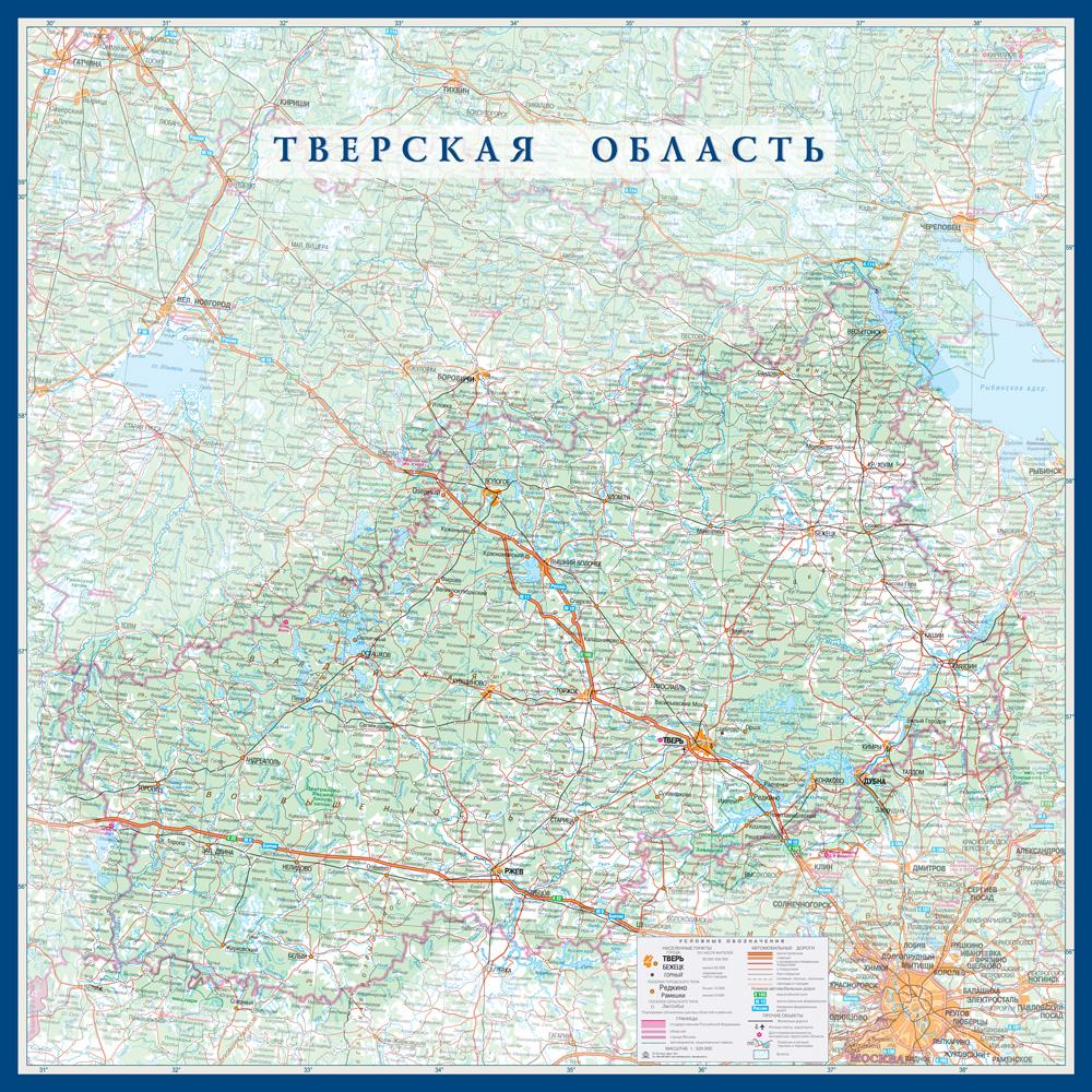 Настенная карта Тверской области размер 1,0 х 1,0 м на заказ