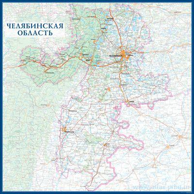 Настенная карта Челябинской области России  размер 1,0 х 1,0 м на заказ