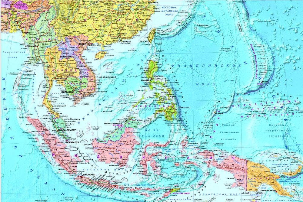 Настенная карта Юго-Восточной Азии ламинированная. Р-р 1,0*0,75 м