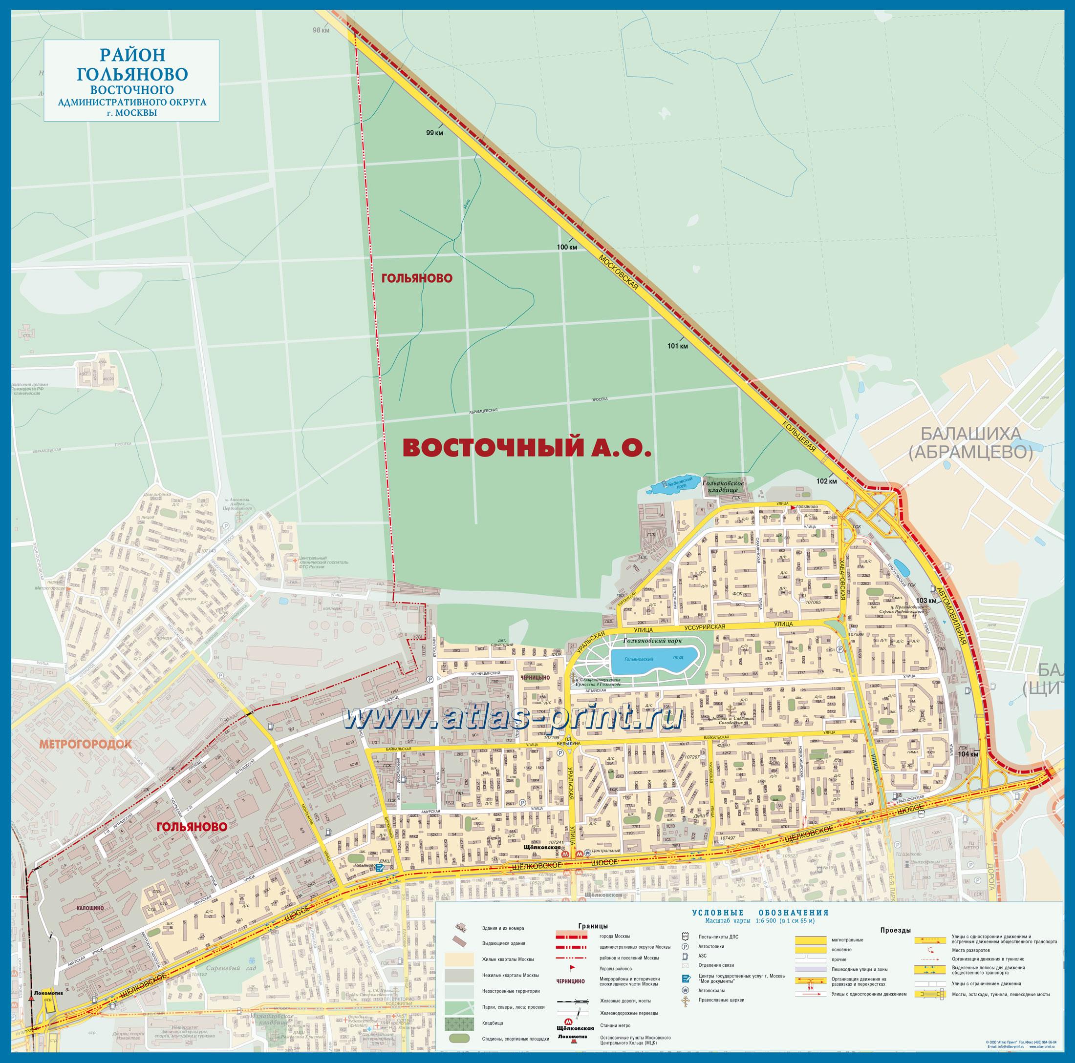 Настенная карта района ГОЛЬЯНОВО (Восточный административный округ г. Москвы) 1,00*0,90 м, ламинированная