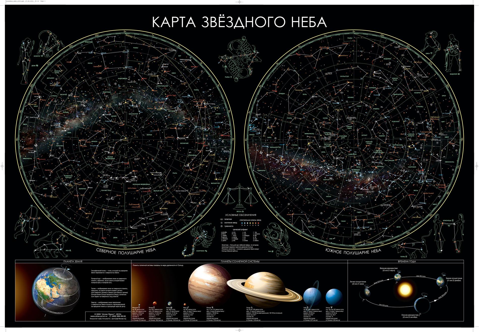 Настенная карта звездного неба 1,0*0,7м